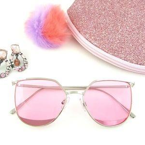 Pink Wayfarer Sunnies with Silver Plated Frames